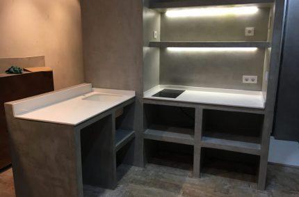 Diseño de cocina con microcemento